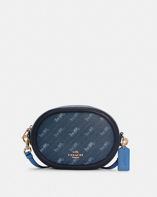 CAMERA BAG WITH HORSE AND CARRIAGE DOT PRINT