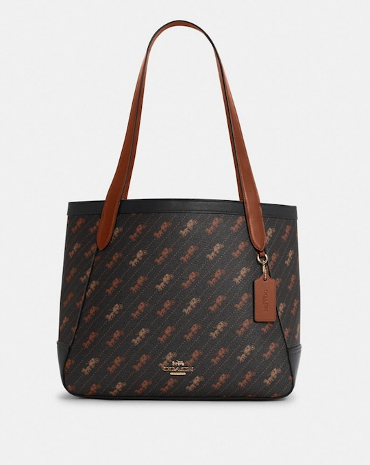 HORSE AND CARRIAGE TOTE WITH HORSE AND CARRIAGE DOT PRINT