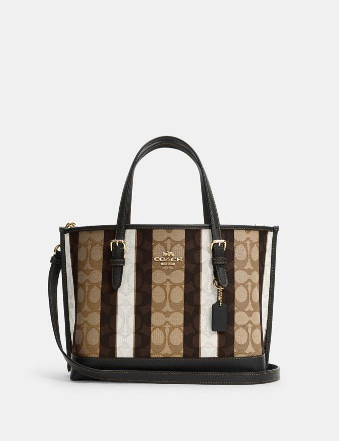 Coach Mollie Tote 25 in Signature Jacquard With Stripes Im/Khaki Black Multi Bags Bags Totes & Carryalls