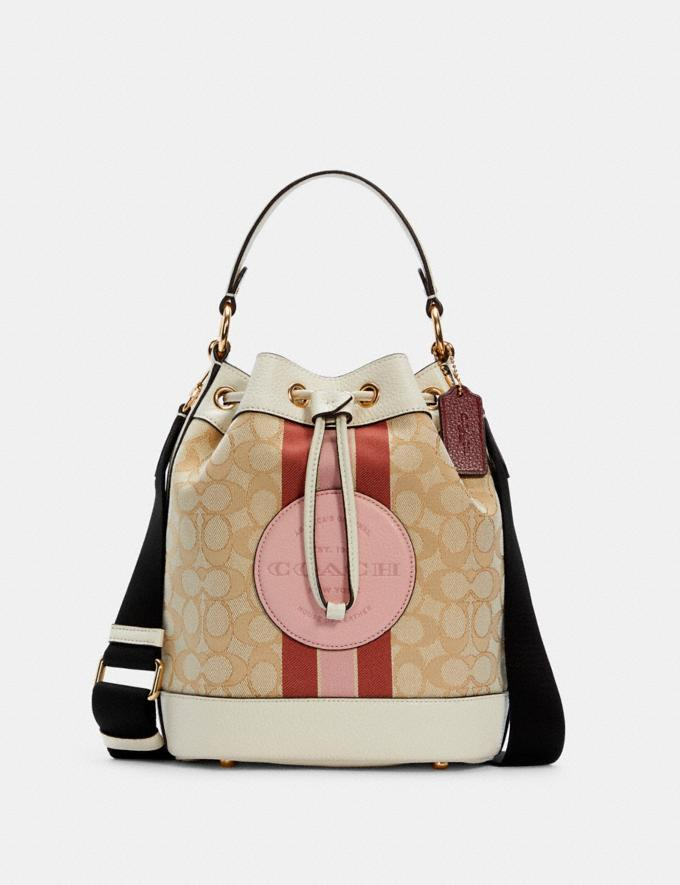 Coach Dempsey Drawstring Bucket Bag in Signature Jacquard With Stripe and Coach Patch Im/Lt Khaki/Powder Pink Multi What's New The Dempsey Collection