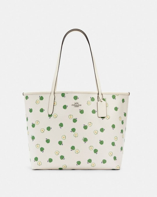 CITY TOTE WITH APPLE PRINT
