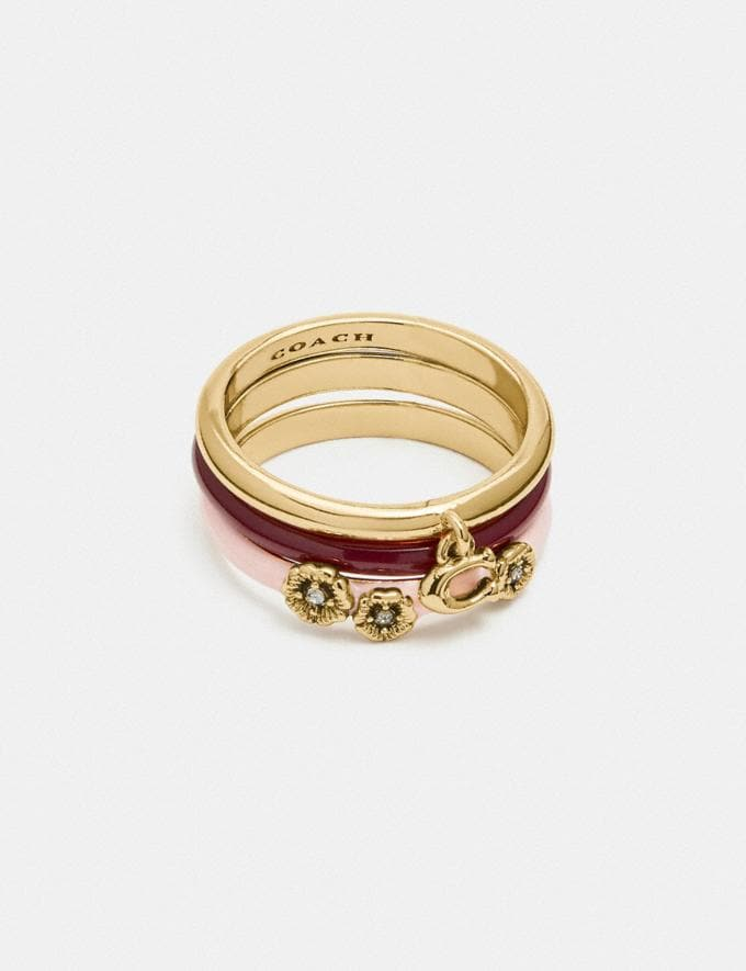 Coach Pink Tea Rose Ring Set Gold/Pink Multicolor null