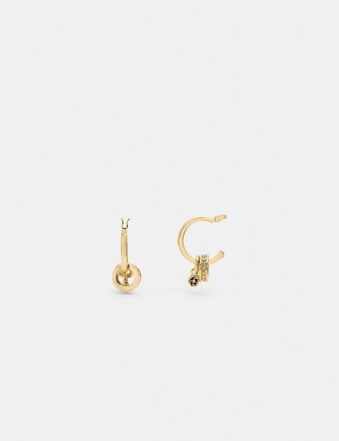 Coach Crystal Drop Huggie Earrings Gold/Multi null