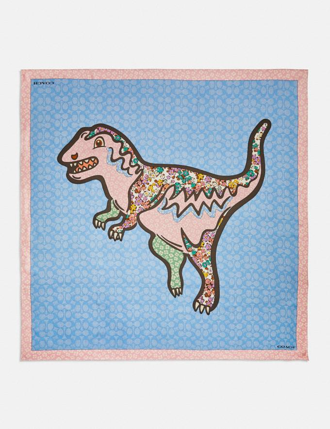 Coach Patchwork Rexy Print Silk Square Scarf Pink Multi. null