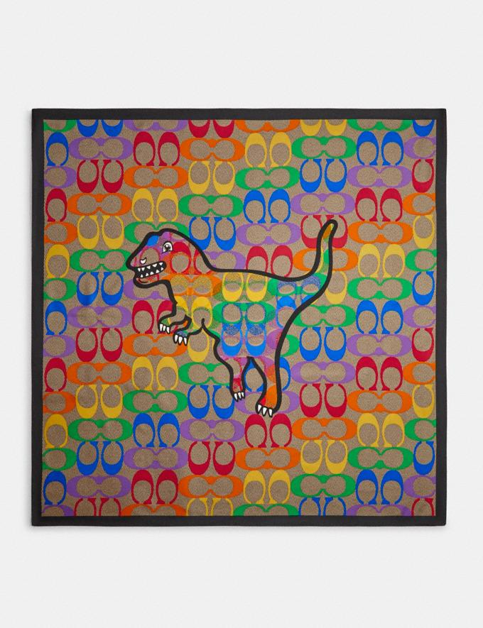Coach Rainbow Coach Stamp Silk Square Scarf Multi DEFAULT_CATEGORY