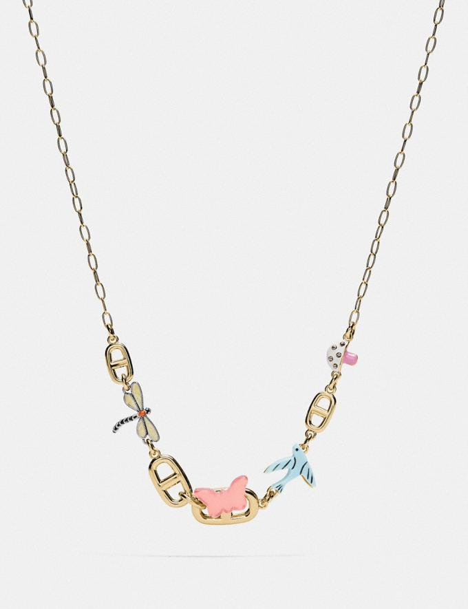 Coach Coffee Bean Chain Link Charm Necklace Gold/Multi null