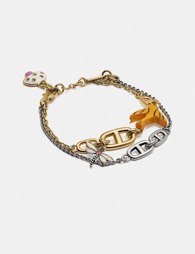 Coach Coffee Bean Chain Link Charm Bracelet Gold/Multi New Women's New Arrivals Accessories