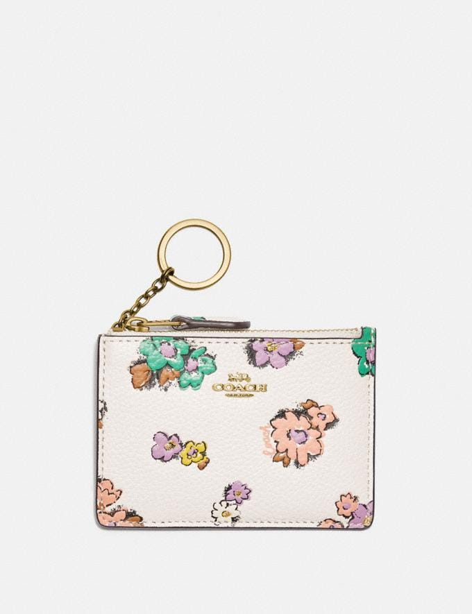 Coach Mini Skinny Id Case With Floral Print Brass/Chalk null