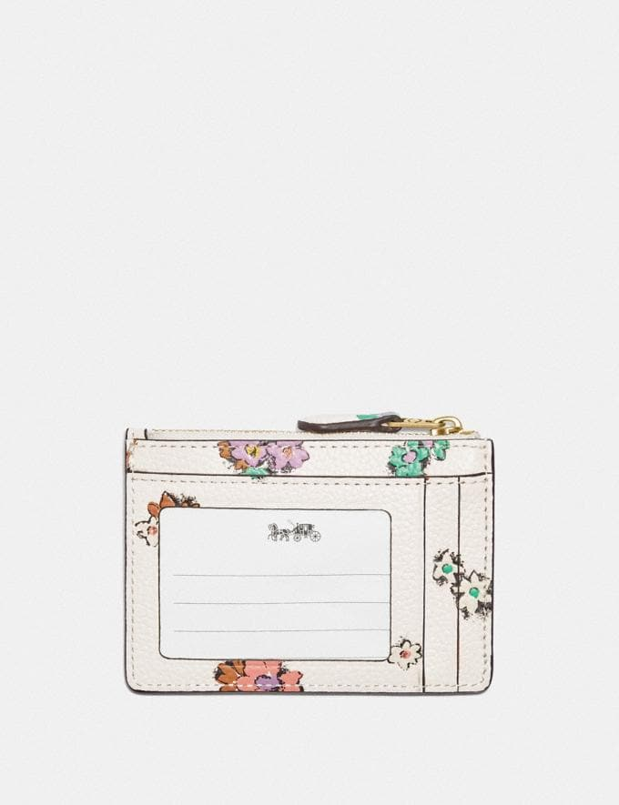 Coach Mini Skinny Id Case With Floral Print Brass/Chalk null Alternate View 1