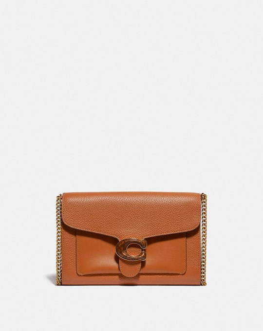 TABBY CHAIN CLUTCH IN COLORBLOCK WITH SNAKESKIN DETAIL