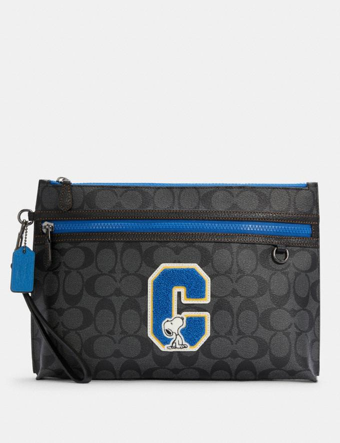Coach Coach X Peanuts Carryall Pouch in Signature Canvas With Snoopy Qb/Charcoal Multi DEFAULT_CATEGORY
