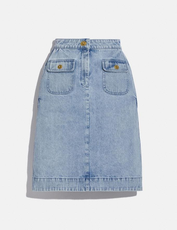 Coach Washed Denim Skirt Vintage Stone Wash