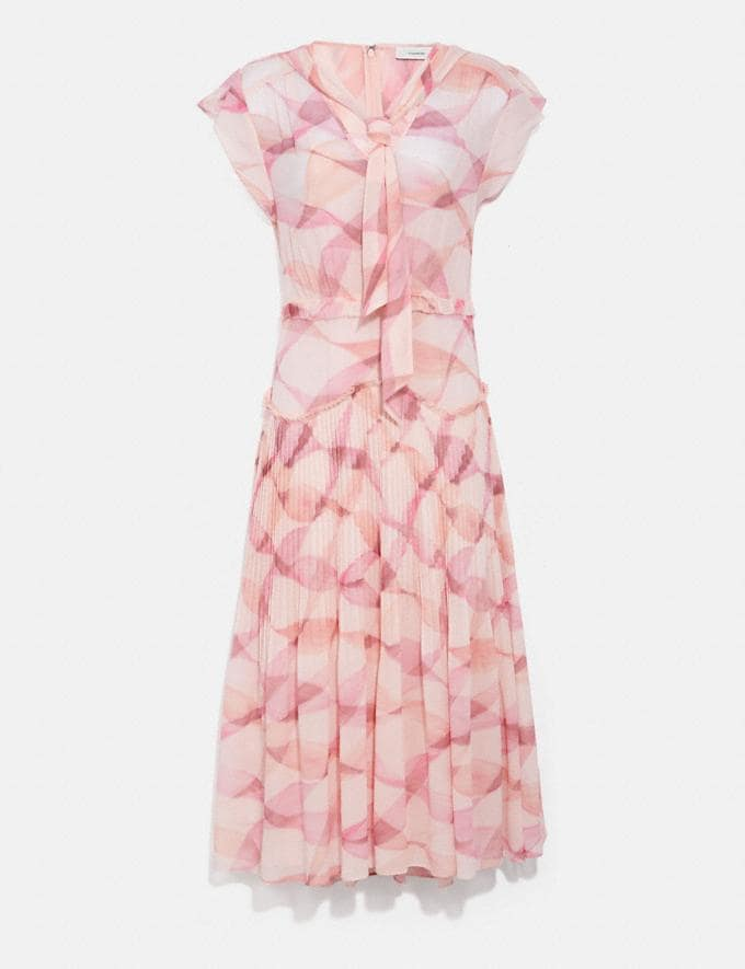Coach Printed Sleeveless Uptown Dress Pink/Coral