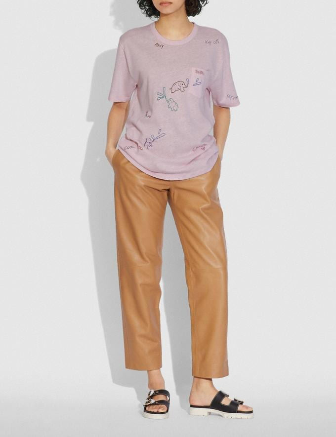 Coach T-Shirt With Pocket Blossom Pink  Alternate View 1