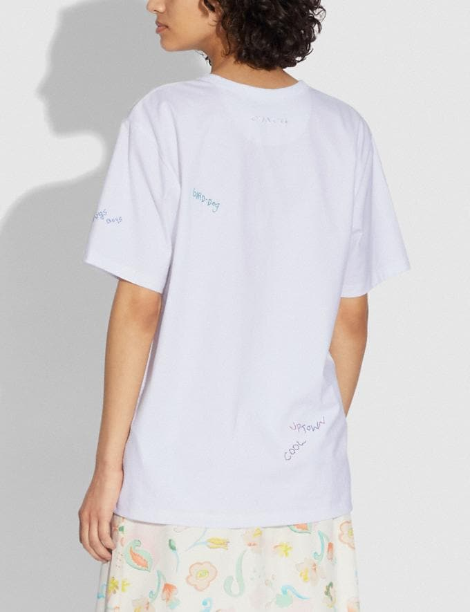 Coach Signature Hand Drawing T-Shirt Optic White DEFAULT_CATEGORY Alternate View 2