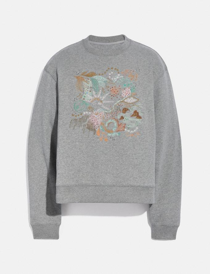 Coach Doodle Embroidered Sweatshirt in Organic Cotton Grey DEFAULT_CATEGORY