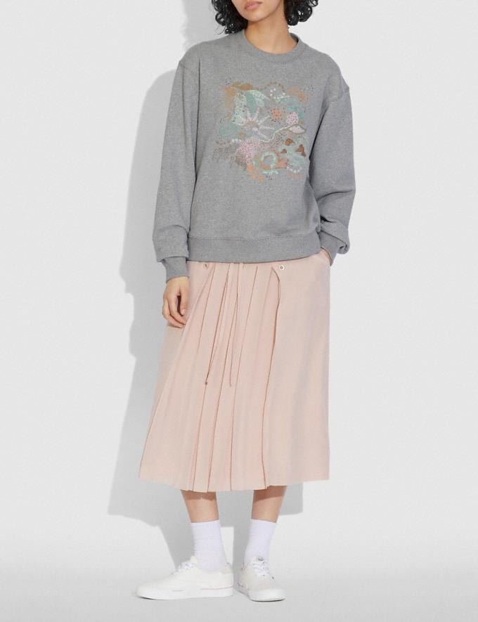 Coach Doodle Embroidered Sweatshirt in Organic Cotton Grey DEFAULT_CATEGORY Alternate View 1