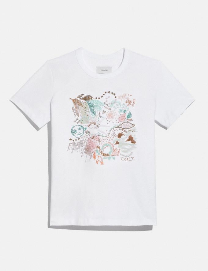 Coach Doodle Dream T-Shirt in Organic Cotton Optic White