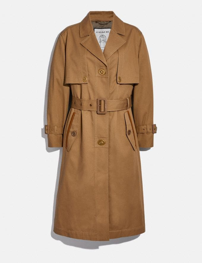 Coach Cotton Trench With Leather Trim 80s Trench