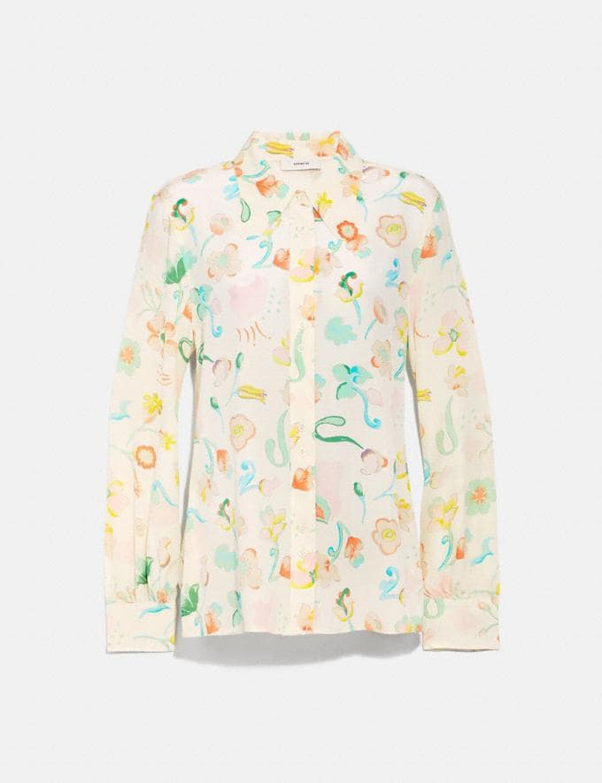 Coach Button Up Blouse Chalk/Multi