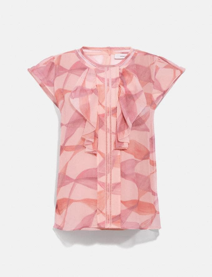 Coach Printed Ruffle Blouse Pink/Coral DEFAULT_CATEGORY