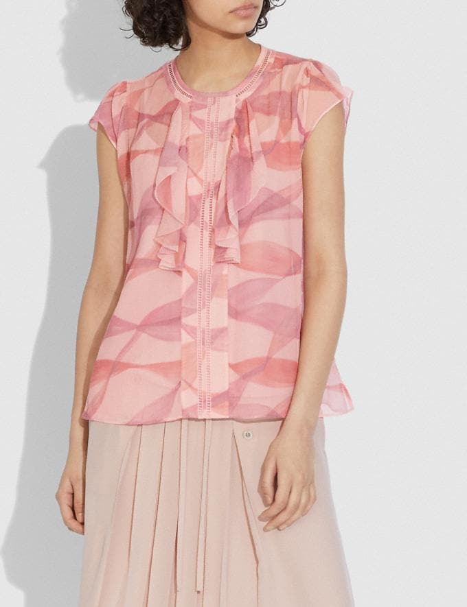 Coach Printed Ruffle Blouse Pink/Coral  Alternate View 1