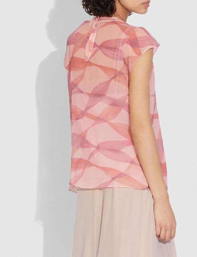 Coach Printed Ruffle Blouse Pink/Coral  Alternate View 2