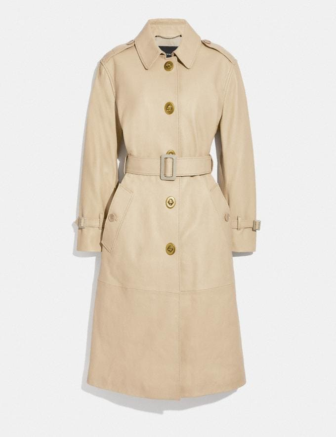 Coach Lightweight Leather Trench Faded Sand