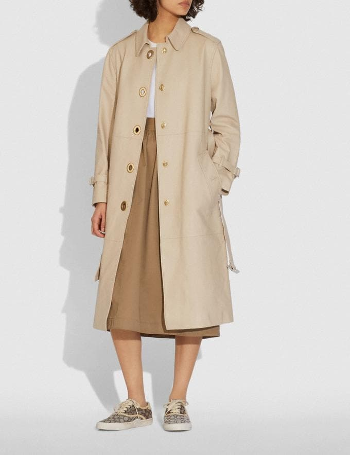 Coach Lightweight Leather Trench Faded Sand  Alternate View 1