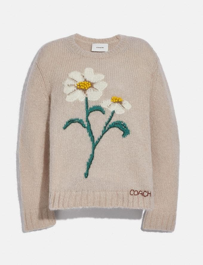 Coach Daisy Embroidered Sweater Natural