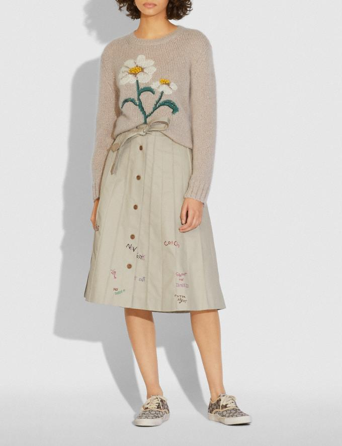 Coach Daisy Embroidered Sweater Natural  Alternate View 1