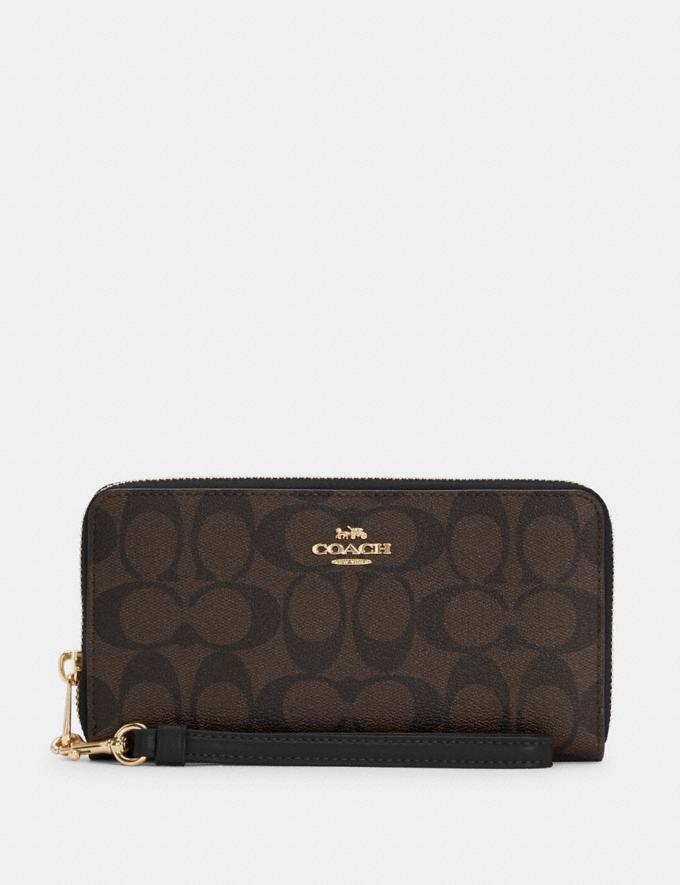 Coach Long Zip Around Wallet in Signature Canvas Im/Brown Black Translations 6.1-Otheroutlet