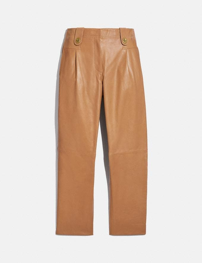 Coach Leather Trousers Light Beige