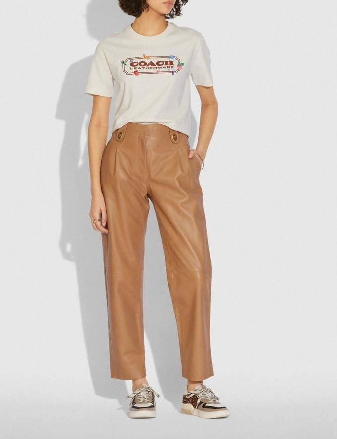Coach Leather Trousers Light Beige  Alternate View 1