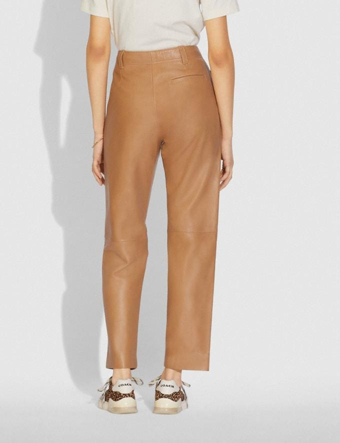 Coach Leather Trousers Light Beige  Alternate View 2