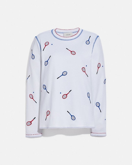 EMBROIDERED TENNIS PRINT LONG SLEEVE T-SHIRT
