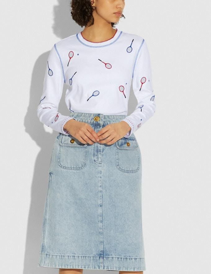 Coach Embroidered Tennis Print Long Sleeve T-Shirt Optic White DEFAULT_CATEGORY Alternate View 1