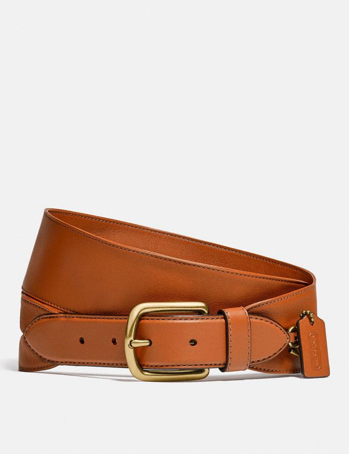 Coach Harness Buckle Belt With Hangtag, 50mm Brass/Spice Brown
