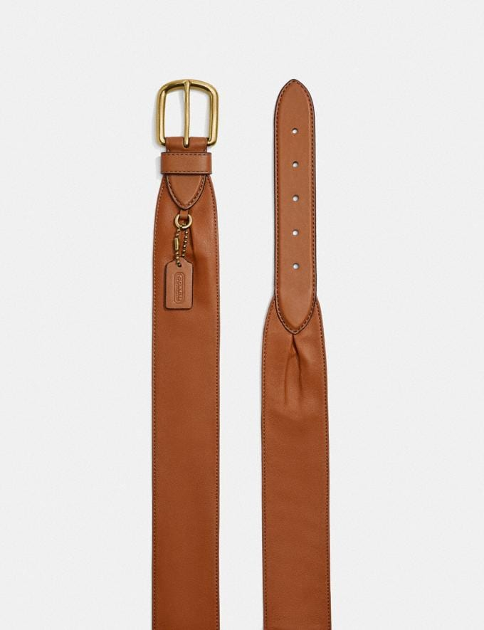 Coach Harness Buckle Belt With Hangtag, 50mm Brass/Spice Brown  Alternate View 1