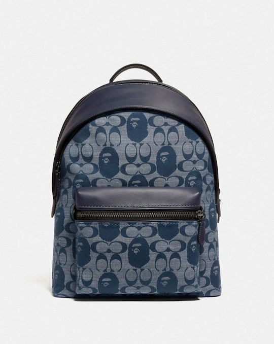 BAPE X COACH CHARTER BACKPACK IN SIGNATURE CHAMBRAY