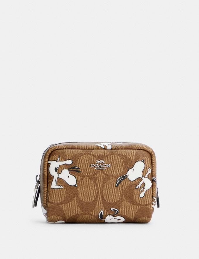 Coach Coach X Peanuts Mini Boxy Cosmetic Case in Signature Canvas With Snoopy Print Sv/Khaki Multi DEFAULT_CATEGORY