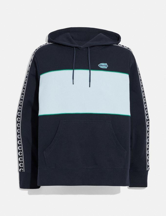 Coach Athleisure Hoodie in Organic Cotton Navy/Green Translations 6.1-Otheroutlet