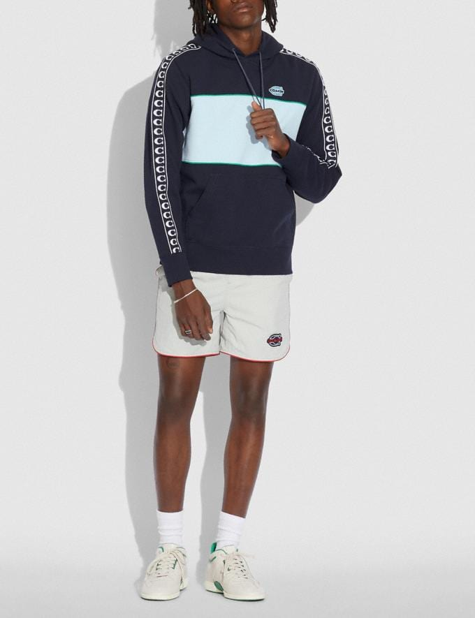 Coach Athleisure Hoodie in Organic Cotton Navy/Green Translations 6.1-Otheroutlet Alternate View 1