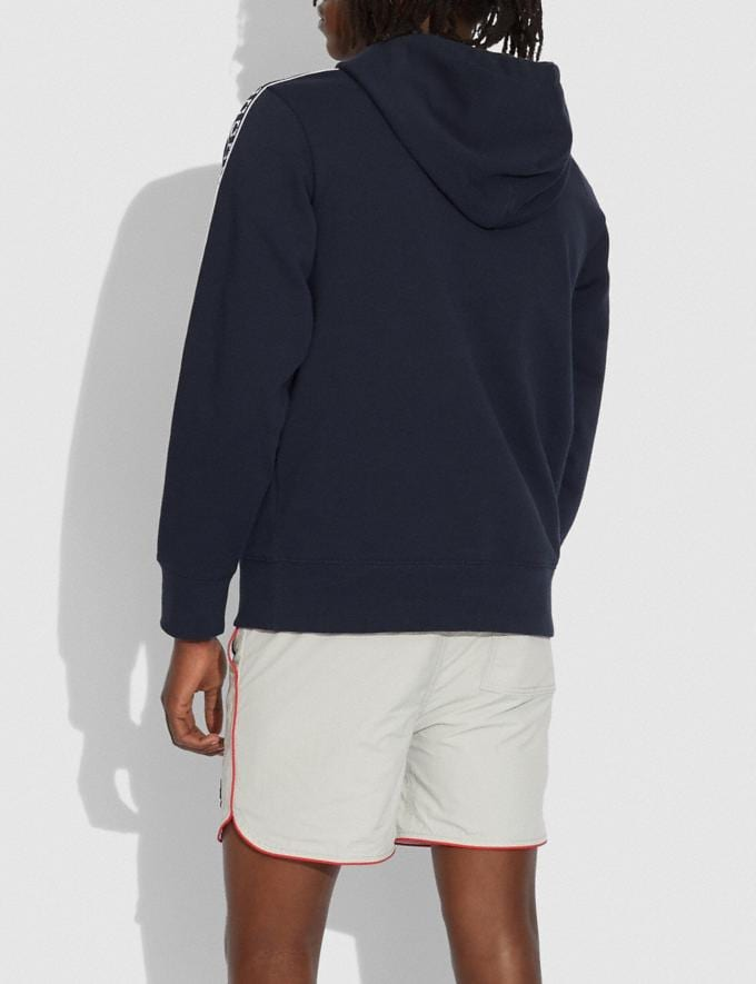 Coach Athleisure Hoodie in Organic Cotton Navy/Green Translations 6.1-Otheroutlet Alternate View 2
