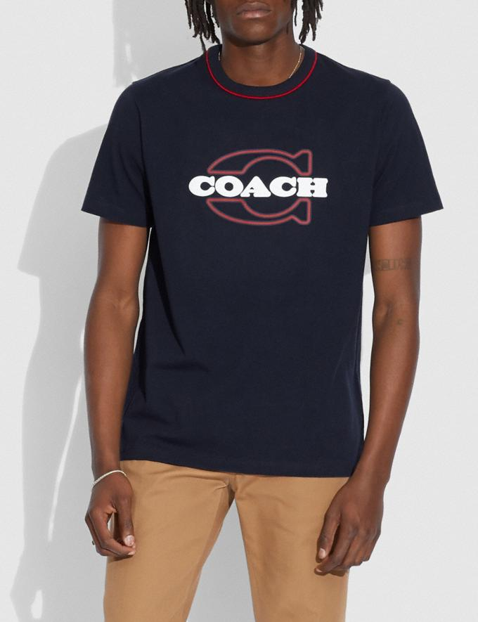 Coach Athleisure T-Shirt in Organic Cotton Navy Bright Red Translations 6.1-Otheroutlet Alternate View 1