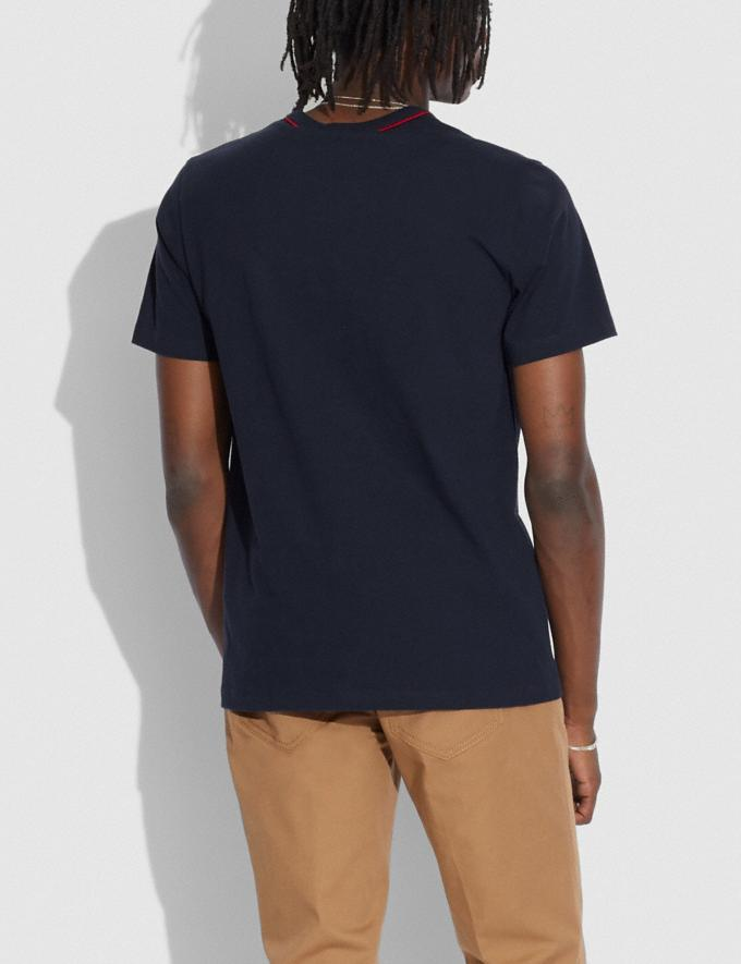 Coach Athleisure T-Shirt in Organic Cotton Navy Bright Red Translations 6.1-Otheroutlet Alternate View 2