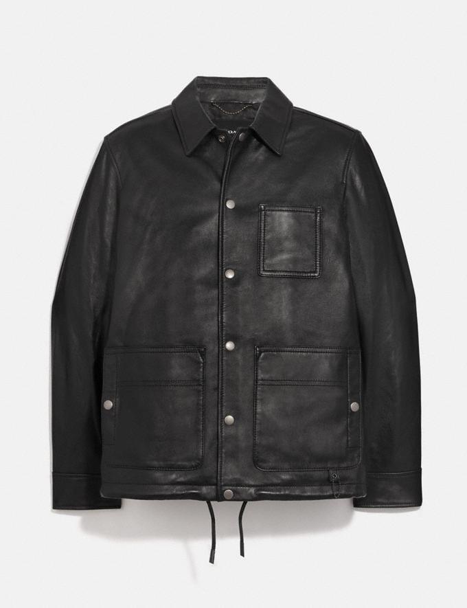 Coach Pocket Leather Jacket Black null