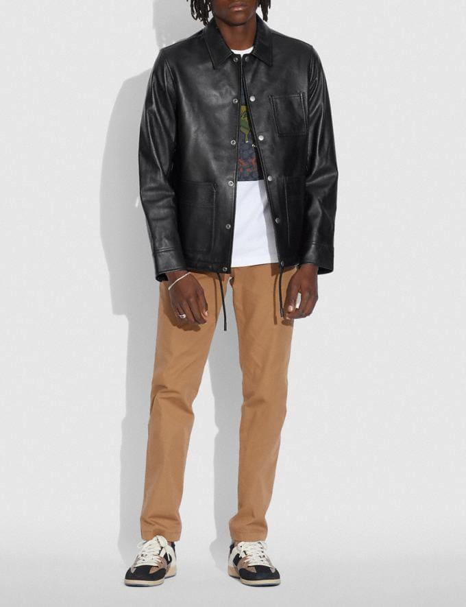 Coach Pocket Leather Jacket Black null Alternate View 1