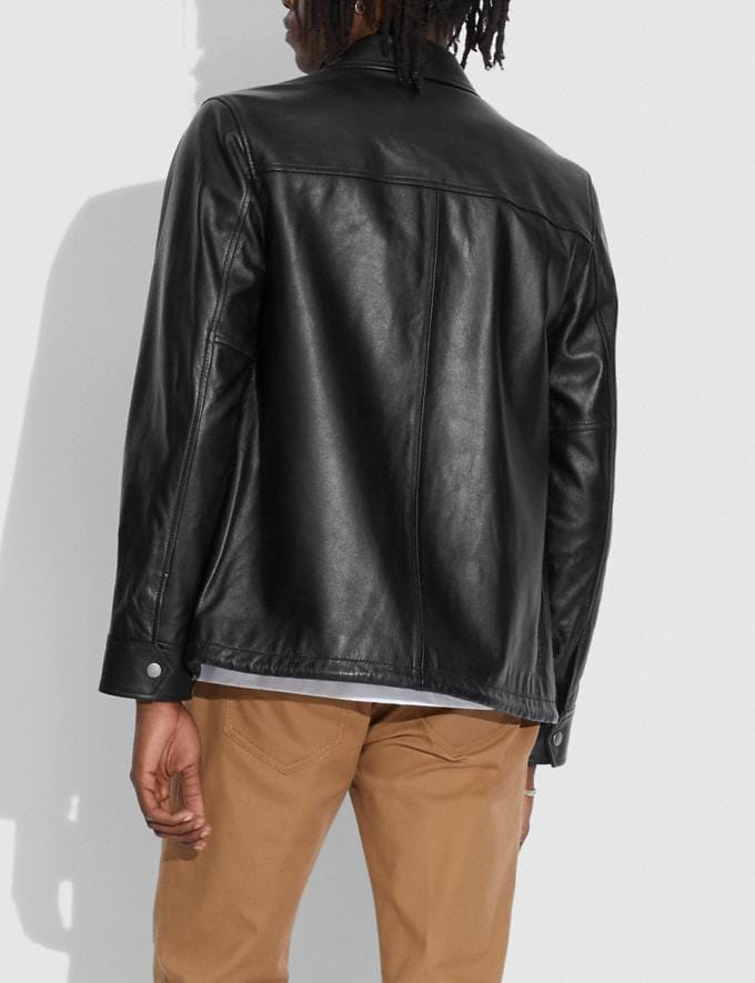 Coach Pocket Leather Jacket Black null Alternate View 2