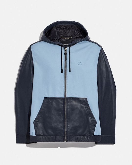 PIECED LEATHER HOODIE